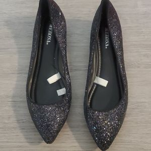 Black sequin flats with tiny wedge